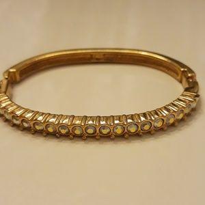 Gold & Rhinestone Bangle Bracelet